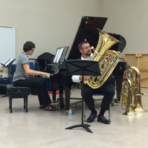 Alex Lapins performing for faculty recital